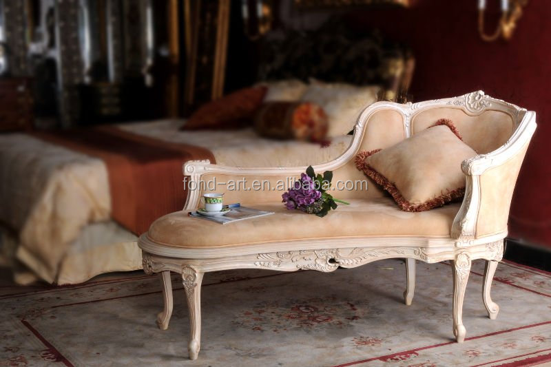 C65 Antique White Fabric Leisure Chaise Lounge Sofa