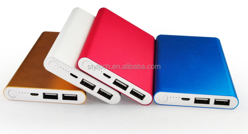 Hot selling slim 10000mah Aluminium power bank with dual 2.1A output