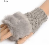 Fashion 100% Cotton Warm Knitted Stripe Long Fingerless Glove
