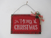 Christmas wall plaque decoration/X'mas MDF Burlap Hanging/ Burlap wall ornament