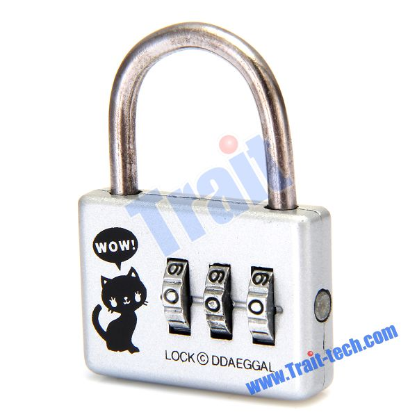 CR-20A Silver Cat Mini 3 Digit Resettable Combination Lock Password Lock Padlock with Steel Line