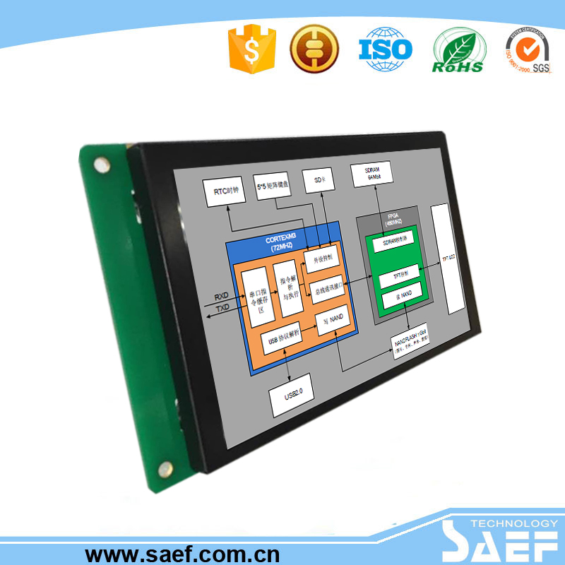 5 inch lcd monitor with RS232/ TTL/RS485 interface square dashboard