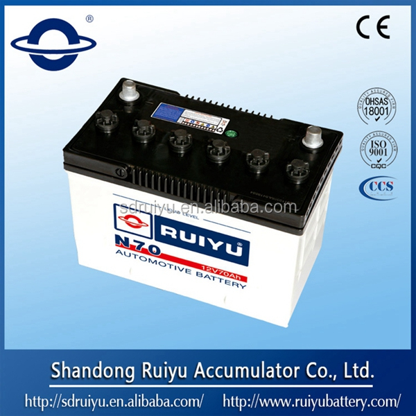 Chinese 12V Dry Charged Lead Acid Car Battery for Starting 65D31R 12V 70AH
