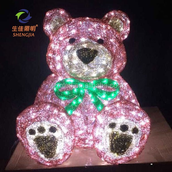 Led decorative 3D motif modelling bear parttern light for chrismas festival party outdoor waterproof atificial light
