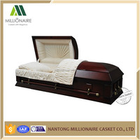 American style wooden lumber casket and coffin with hardware trim