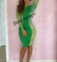 Women's Fashion 2014 Leopard Green Blue Print Color Bandage Dresses Bodycon Evening Club Sexy dress