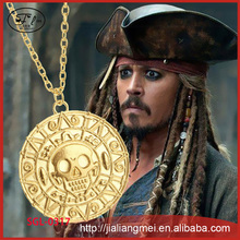 Pirates of the Caribbean Gold Necklace Men's Necklace Skull Head Necklace Pendant