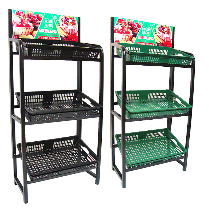All Steel Structure Multi-Function Supermarket Fruit Vegetable Display Stand Promotion Stand for Shopping