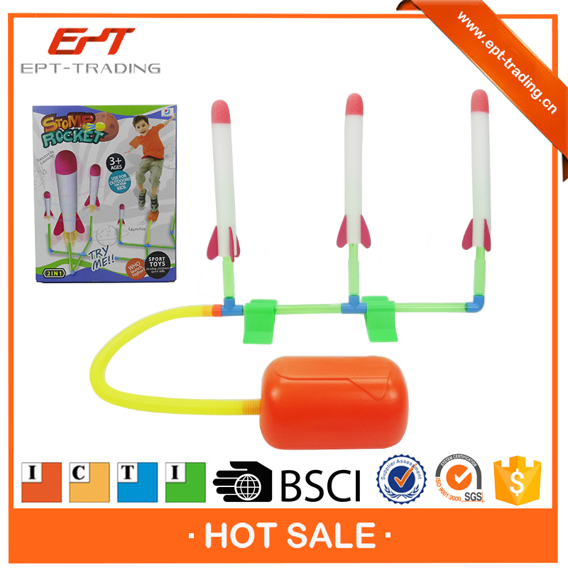 BSCI proved kids air pump foam rocket toy for sale