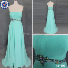 Simple design chiffon sweep train turquoise blue bridesmaid dresses with beaded belt