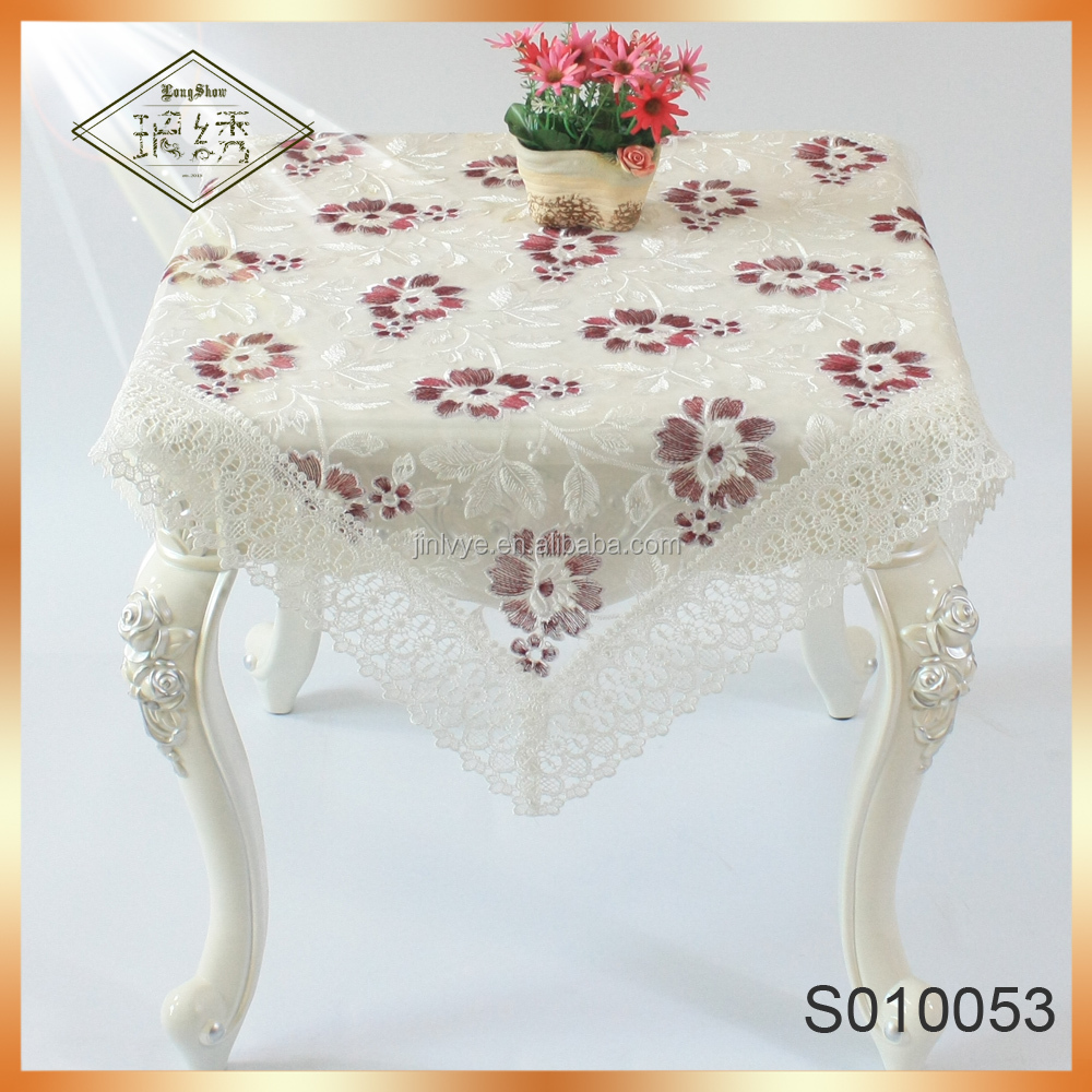 Elegant Floral Lace Embroidery Fabric Tablecloth with High Quality Lace Trim