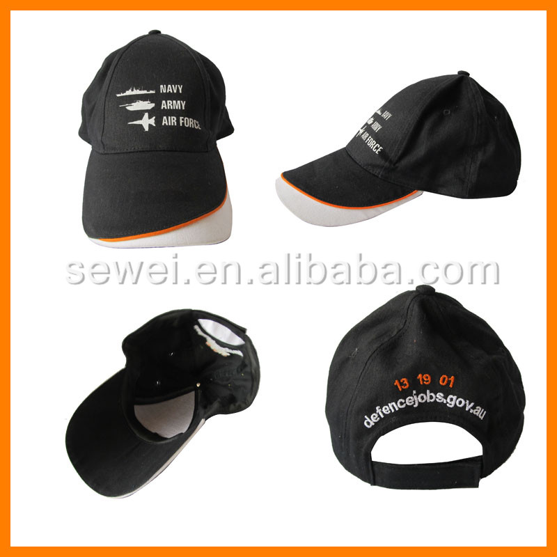 Cheap Custom your own logo high quality Black Baseball cap and hat