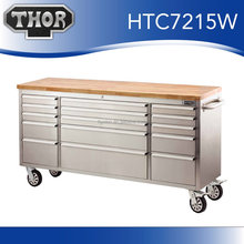 "Stainless steel us general toolbox 72"" tool chest with wood top"