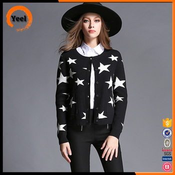 New Arrival women black cardigan sweater, round neck blank sweater