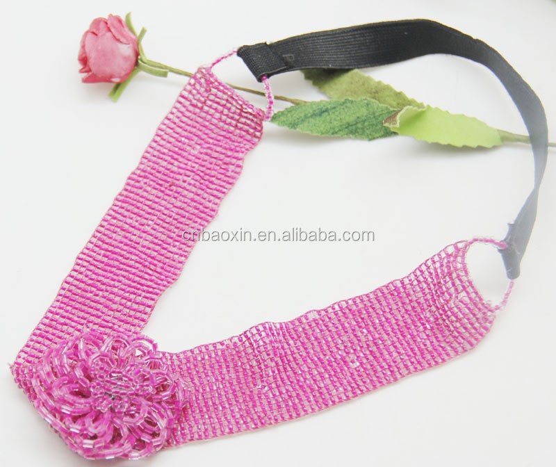 New Arrival Red Flower Shape Design Seed Beads Headband For Young Ladies