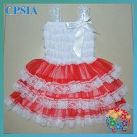 Lovely white and red chiffon Christmas children dresses Hot sale