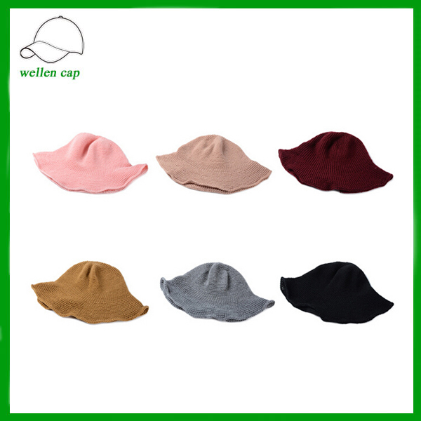 popular ladies' plain winter hat solid color knitted hat bucket hat for women
