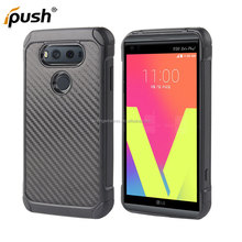 New Arrival Carbon Fiber Design Shockproof TPU+PC Phone Cover For LG V20 Combo Case