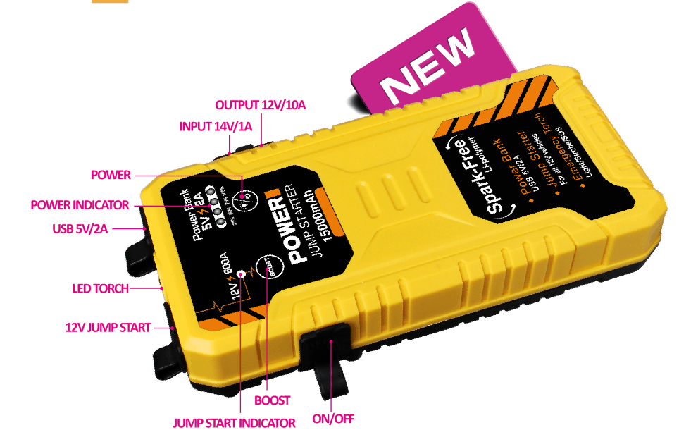 Innovative jump start battery charger 700A booster jumper kit with smart cable