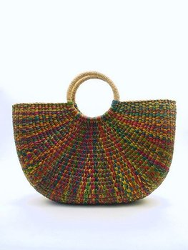 Water Hyacinth Hand Woven Bag In Multi-Colour