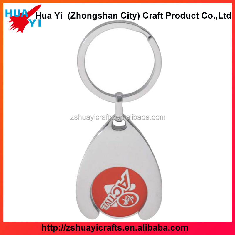 Promotional custom carving logo metal trolley token coin keychain