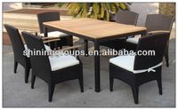Hand Woven Rattan Aluminium Alloy Dining Table Teak Wood Set