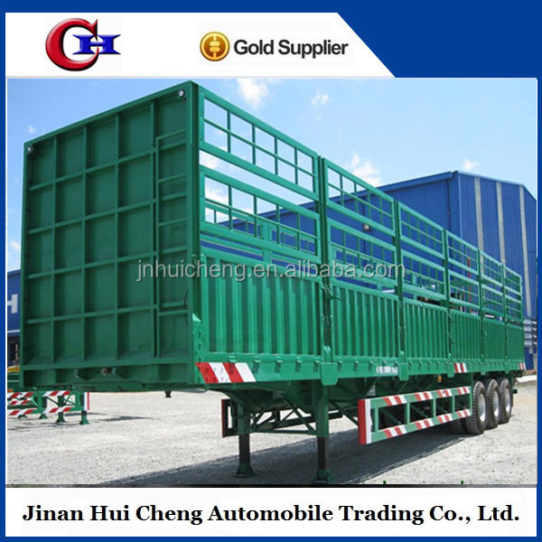 40ton 3 axle animals transport semi trailer , truck stake semitrailer / live stock fence truck tow trailer