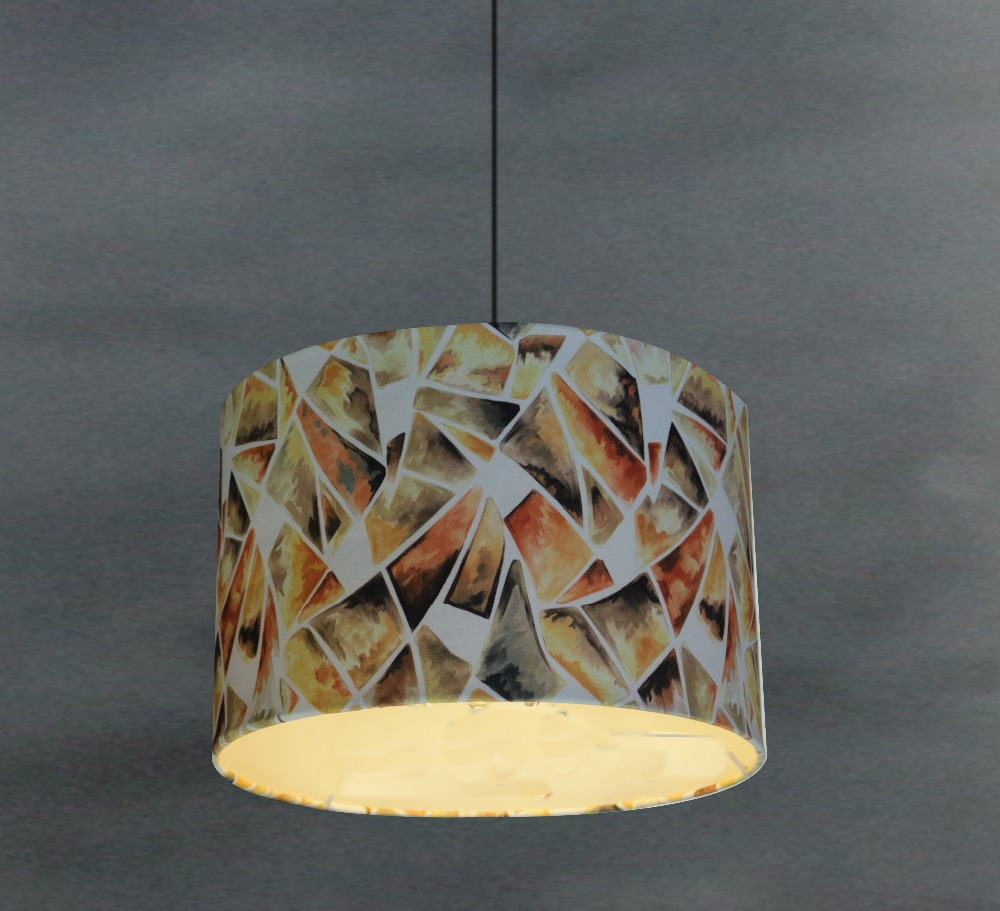 print laced lamp cover lampshades with color squares,hot sale desk cloth cone shape lamp shade