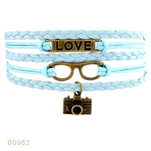 2017 Woven PHOTOGRAPHY FISHING READ BEER Alloy Camera Ship Fish Winebottle Charm Bracelets