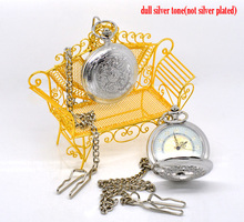 "Silver Tone Chain Quartz Pocket Watch 42cm (16-1/2""), sold per pack of 1,Hottest"