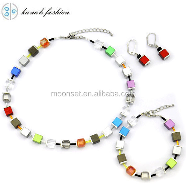 New Design Cube Anodized Eloxiertes Aluminum Beads Jewelry Sets