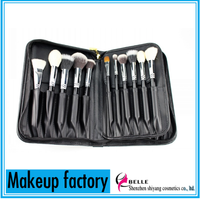 2015 New Arival! Professional goat hair 25pcs cosmetics brush set/makeup brush set with 3 layers book pouch