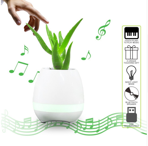 K3 Portable Smart Bluetooth Music Flower Pots Speaker Plastic Colorful Light Pot De Fleur Loudspeaker for Home Office Decoration