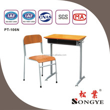 Fixed Single Desk and Chair, school furniture PT-106N