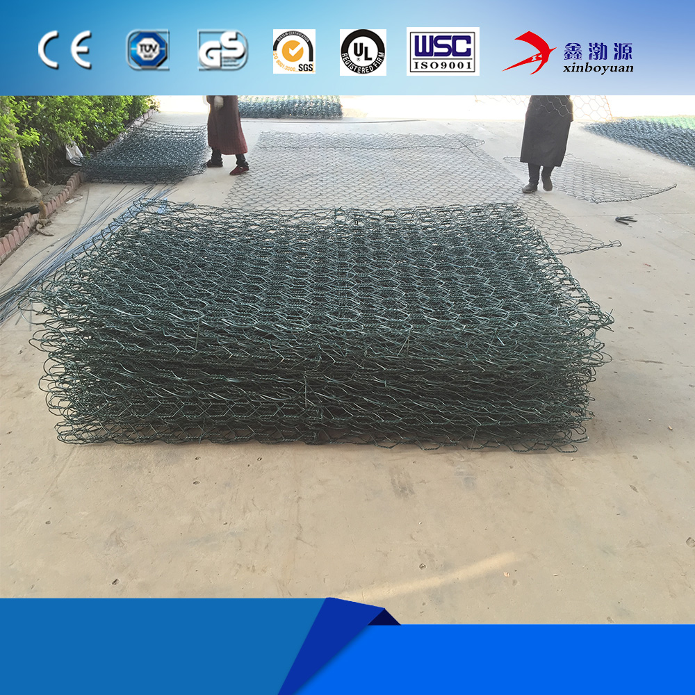 hexagonal wire netting gabion stone basket cage for retaining wall