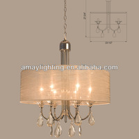 European italian crystal chandeliers with steel frame and fabric shade MD2076