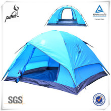 Two Door Fiberglass Poles Polyester Fabric Camping Tent for Family