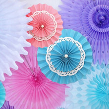 Lace Paper Doilies Paper Rosettes Hanging Paper Fans Solid Color Party Round Hanging Decoration