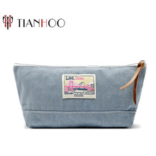 Simple Jeans Fabric Blend Toiletry and Cosmetic Bag with Inside Satin Lining