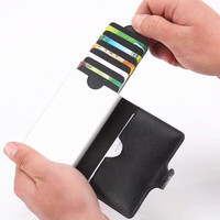 HOT and NEW RFID Wallet Blocking Men Metal ID Credit Card Holder Pop Up Coin Mini Pocket
