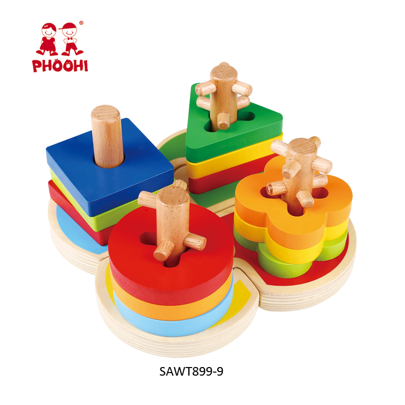 Kids wooden shape sorting stacker wooden montessori material educational toy for 1+