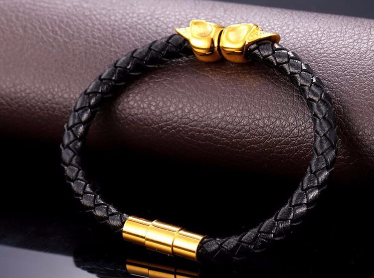 Wholesale New Gold Designs Fashion Skull Premier Jewelry Stainless Steel Leather Bracelet