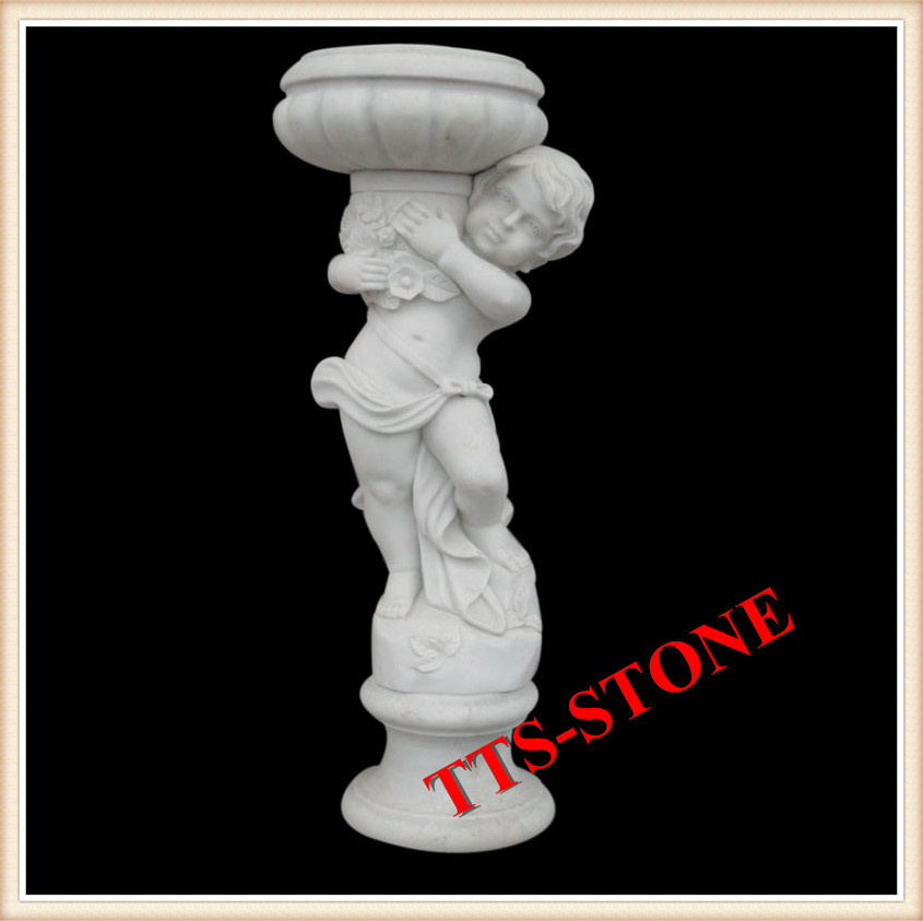 hand carved children standing marble flower pot