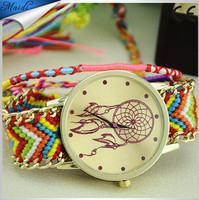 2015 Colorful Vintage New Girls Bracelet Ladies Watch Dreamcatcher Friendship Women Braid Watches Wholesale GW018