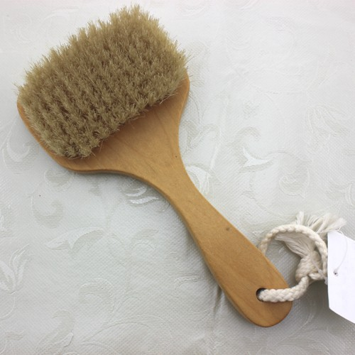 Wood long handle body back wash brush for scrubber back