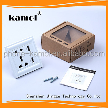 wholesale ODM euro electric switch 5v/2a wall socket with usb port