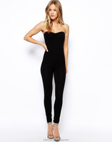 2016 Slim FIt Sexy Black One Piece Women Jumpsuit with Sweetheart Neck