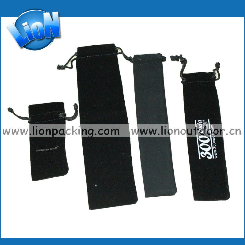 custom sizing and shaping black pen velvet pouch