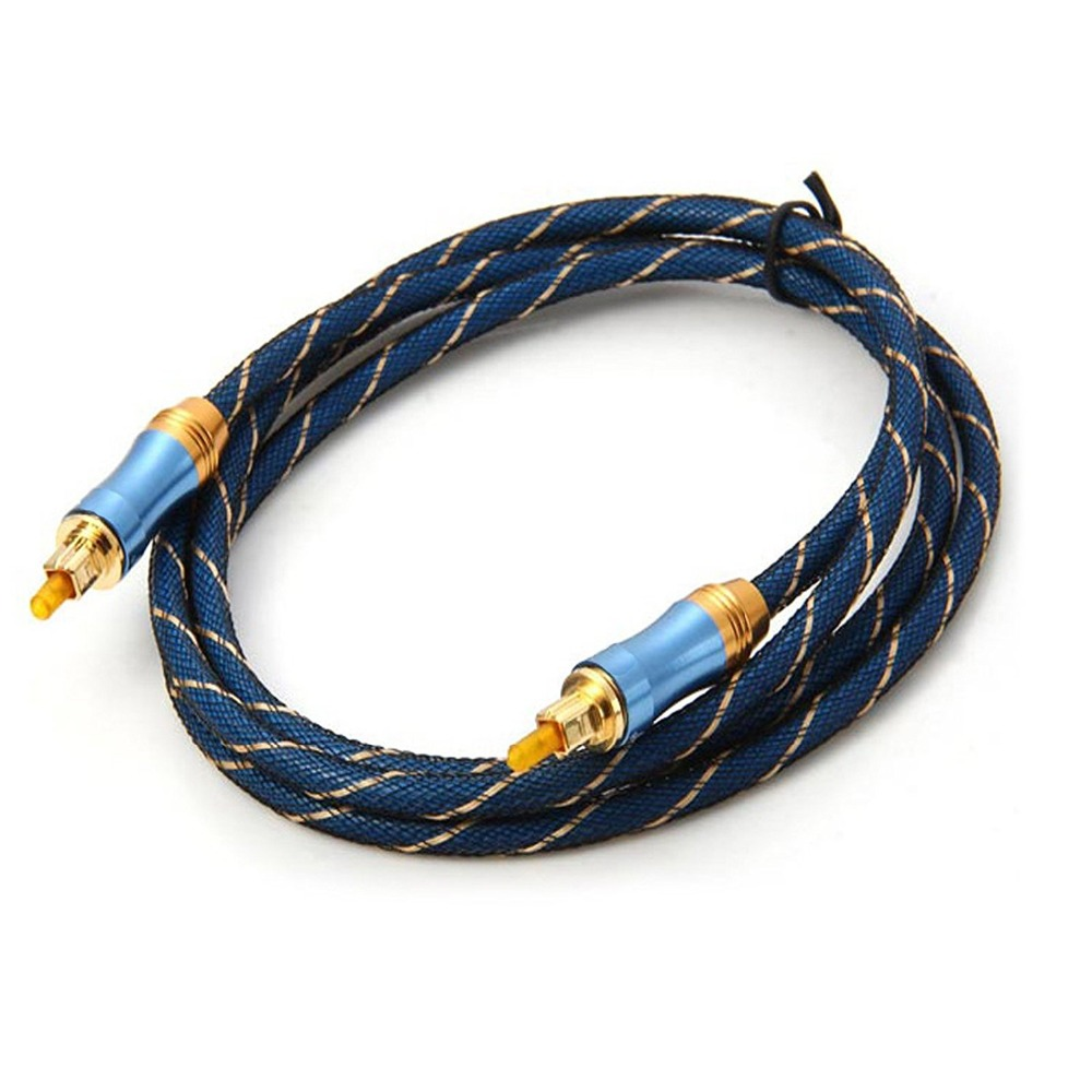 High Quality Toslink Fiber Optical Audio Cable 1.5m Blue Nylon Braided Optical TOSLINK Digital Audio Cable