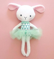 BALLERINA RAG DOLL CAT BUNNY CUTE SOFT MINKY FABRIC CLOTH